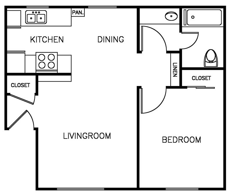 Shadow Mountain 1 bedroom 1 bath 546 sqft floor plan