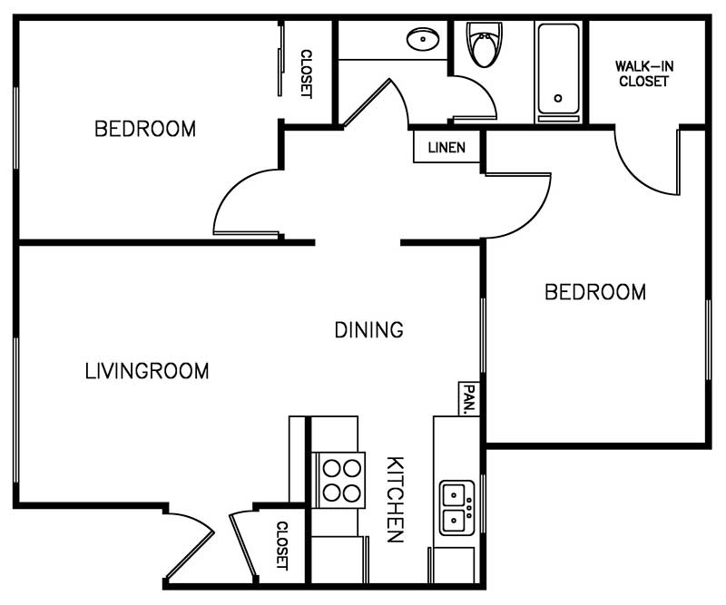 Shadow Mountain 2 bedroom 1 bath 912 sqft floor plan